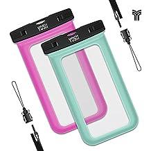 Funda impermeable móvil YOSH® (2 Unidades) Bolsa Impermeable Sumergible para movil iPhone 6 6s Plus se 5 5s Samsung LG HTC HUAWEI Funda Resistente al Agua IPX8 Certificado Universal 6 Pulgadas(Verde&Rosa)