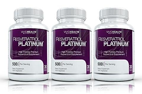 Resveratrol Platinum (3 Bouteilles) -Premium, haute puissance resvératrol supplément. La