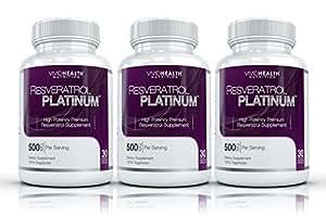 Resveratrol Platinum (3 Bouteilles) -Premium, haute puissance resvératrol supplément. La plupart Formulation efficace disponible. Regardez les jeunes se sentent mieux !
