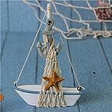 Mini Voilier Bateau en Bois avec Décor Filet de Pêche Ornement Nautique de Table pour Maison Boutique - Voilier Ancre et Eoile de la mer...