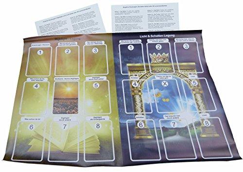 Lebensberatung mit Karten zum Highlight sowie die Legung Licht und Schatten. 2er Legeschablone incl. Deutungshilfe zu den Lenormandkarten (2er Plane / Schablone Highlight-Legung und Licht & Schatten).