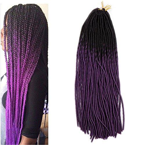 50cmtreccia capelli extension tessitura fibre lunga treccine extension ombre 95g - nero & viola scuro