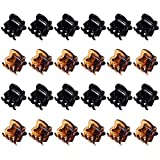Mini Hair Clips Plastic Hair Claws Pins Clamps for Girls and Women (24 Pieces, Black and Brown)