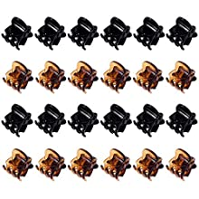 Mini Hair Clips Plastic Hair Claws Pins Clamps for Girls and Women (Black and Brown)