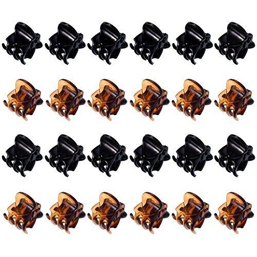 Mini Pinces à Cheveux en Plastique Pinces à Cheveux Griffes pour Fille et Femme (24 Pièces, Noir et Marron)