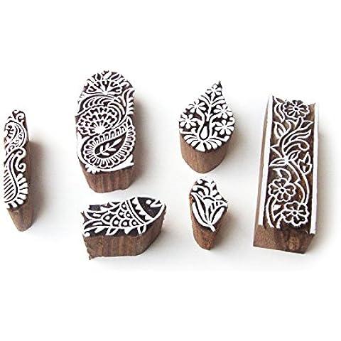 Pesce e Floreale Esclusivo Designs Legna Timbri per Stampa (Set di 6) - Floreale Tessuto Di Spugna