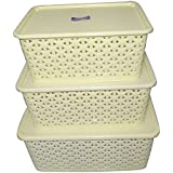 Super Deals Fairfood Multipurpose Storage Basket With Cover Box - Ivory(Set of 3) Sold By Super Deals