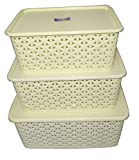 #3: Super Deals Fairfood Multipurpose Storage Basket With Cover Box - Ivory(Set of 3) Sold By Super Deals