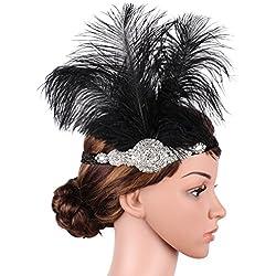 Babeyond Womens Roaring Prom Avestruz Feather Headband Party Headwear Los años 20 Accesorios para las mujeres Hyperbole Art Deco Style