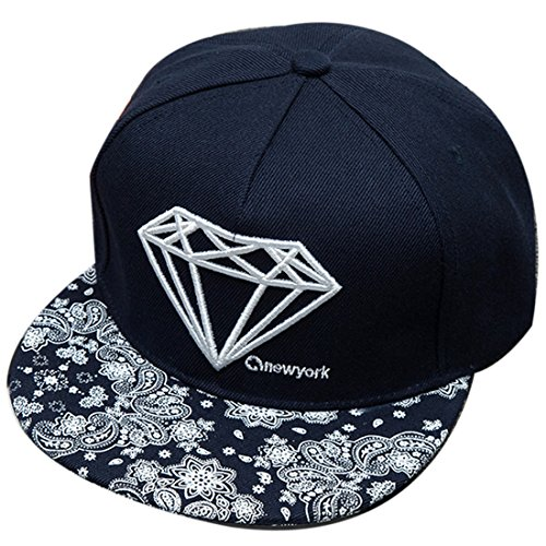 Belsen Damen Diamant Muster Cap Baseball Hut Trucker Hat, Flower Navy, Einheitsgröße