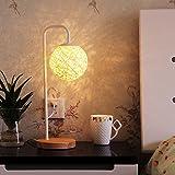 XUANLAN Moderne Bindfäden takraw Lampen, LED-Schlafzimmer Nachttischlampen, dekorative Lampe rustikale Wohnzimmer Schlafzimmer, 47 * 20cm ( Color : White )