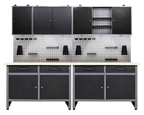 Ondis24 Werkstatteinrichtung 7-teilig Werkbank Werkzeugschrank Werkzeugwand/Lochwand mit Haken + 2x...