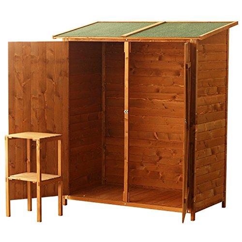 Outsunny casetta armadio porta attrezzi per esterno for Armadio legno giardino