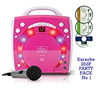 PINK Portable Karaoke Machine & CD Player - PARTY PACK 1 (1 Mic + 3 karaoke CD's) Home Disco Party Light - Girls wired karaoke microphone + 56 Karaoke SONGS (3 CD ' S) CDG + Format (Connect to a TV to display lyrics from CD) - Echo - Auto Voice Control +