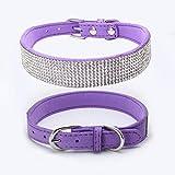 MMGN Pet Soft & Comfy einstellbar Hundehalsband, Band Strass Kristall Bling PU Leder für Hunde Katzen Pet,Purple,XXS
