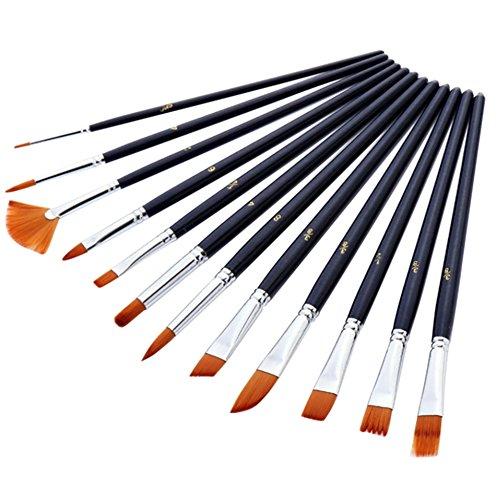 LQZ 12-teiliges Pinsel-Set für Ölfarbe, Pinsel für Aquarellfarben, Acrylpinsel für Malerei auf Leinwand, mit Holzgriff