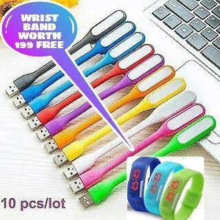 Combo pack of 10 pieces of USB LED lights Flexible, Portable, Bendable, for your laptop, computer, power bank and for any usb port (And also get a digital wrist band worth Rs 199 absolutely FREE with every purchase of this product from ZED BONE only)