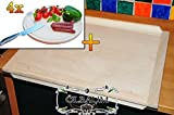 Premium Thick Chefs/Approx. 16 mm Beech and Baking Tray Rectangular Dimensions Approximately 49 cm x 69 cm Large Natural & 4 Picnic Barbecue Wooden Board with Serrated – , 16 mm Thick with Rounded Edges Round Diameter Approximately 30 cm As Bruschetta Serving Board, Bread and Butter Board Lunch (Set of 6 BTV Wild Board, Wildbret,