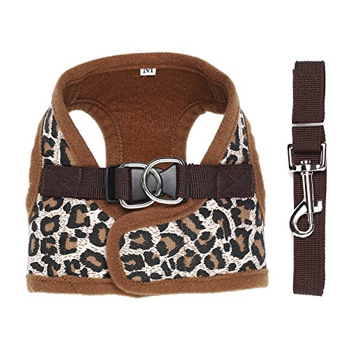 Fenrad® leopard mesh cloth dog harness regolabile pet cani petto guinzaglio traspirante cintura adjustable leash rope corda cane strap (taglia: s;leopard)
