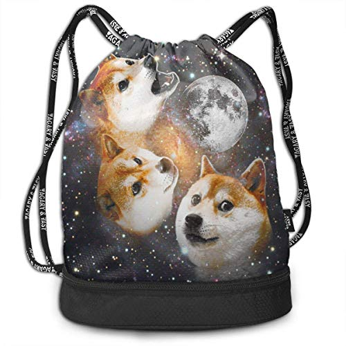 ewtretr Turnbeutel Hipster Sporttaschen Drawstring Bag Three Doge Shoulder Bags Travel Sport Gym Bag Print - Yoga Runner Daypack Shoe Bags with Zipper -