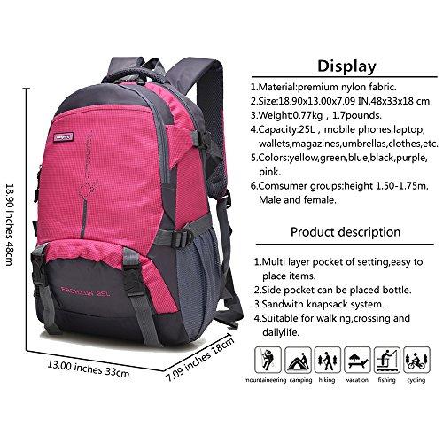 Maker 25L Wanderrucksack Sport im Freien Radfahren Rucksack Tasche Camping Rucksack Wasserdicht Leichte Rucksack Rosa