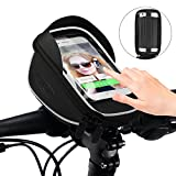 Fahrradtasche Rahmentaschen, ikalula Wasserdicht Sonnenblende Touch-Screen Fahrrad Lenkertasche für iPhone 8 Plus/7 Plus/6S Plus/6 Plus, Samsung, Huawei andere bis zu 5,5 Zoll Smartphone - Schwarz