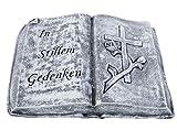 Stone and Style Grabschmuck Steinguss Buch In stillem Gedenken, Frost- und Wetterfest