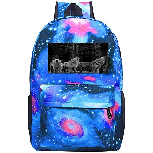dsgsd Bolso de escuela Howling Jungle Wolves Casual Large-Capacity Star Backpack Unisex Travel Bag Gray