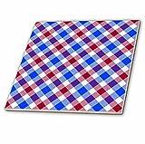 3dRose CT 31338_ 4Patriotische Tartan Muster in rot weiß und blau Keramik Fliesen, 12Zoll
