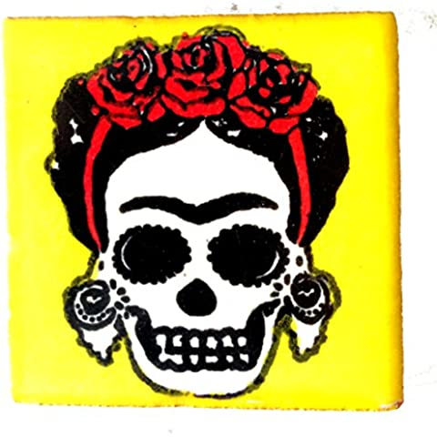 Fair Trade Handpainted Glazed Talavera Mexican Day Dead Dia Los Muerto Ceramic Tile