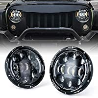 Xprite 7 Inch 75W LED Headlights with High/Low Beam, DRL and Amber Turn Signals Round Headlamps for Jeep Wrangler TJ JK 1997-2018