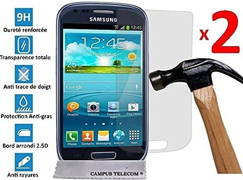 2 Films Vitre Verre Trempé de protection ecran pour SAMSUNG GALAXY S3 MINI by D&C®