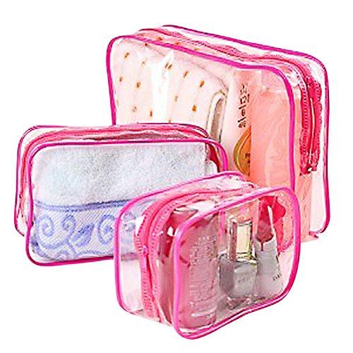 Doitsa 3PCS Sac de Voyage Sac Maquillage Épais PVC Transparent Sac de Rangement Cosmétique Voyage en Plein air étanche (Rose)