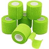 YuMai Selbsthaftende Bandage,cohesive Bandage, Haftbandage, elastischer Fixierverband, Verband, elastische Binde 5cm x 6 Rollen,Grün