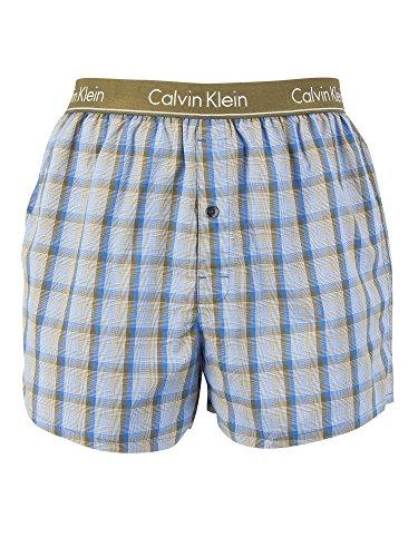 Calvin Klein Herren Slim Fit Boxershorts, Blau, Large (3 Herren-boxer-unterwäsche-plaid)