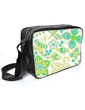 Snoogg Schmetterling und Fische Leder Unisex Messenger Bag für College Schule täglichen Gebrauch Tasche Material PU