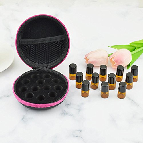 whelsara 12 Compartiments Sac de Rangement pour huiles essentielles Organisateur Contenant portatif en Cuir PU