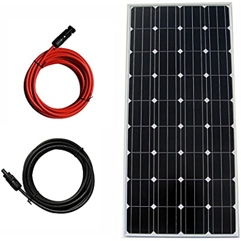 ECO-WORTHY 160 W 12 V Mono Panel Solar picovoltio advpro/Kit de extensión MC4 Cable de red RV