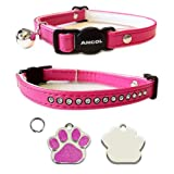 ANCOL Cat Cerise Pink Deluxe Jewel Quick Release Collar With Engraved Paw Print Shaped Glitter Cat ID