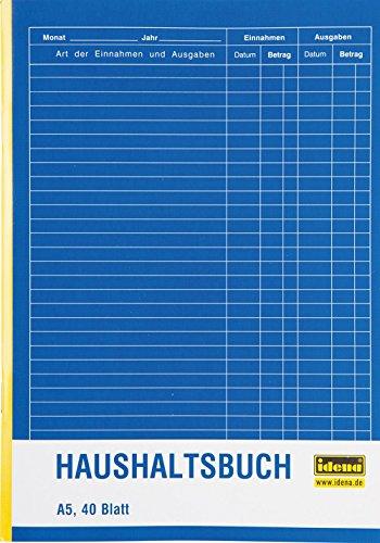Idena 314252 - Haushaltsbuch, DIN A5 doppelseitig, holzfreies Papier, 40 Blatt