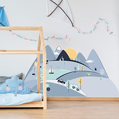 Wandtattoo Wandaufkleber Bild Sticker Kinderzimmer 3D XXL Blaue Berge L - 180x90 cm Deko Natur Wandsticker Baby Mädchen Junge