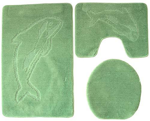 Ilkadim Delphin Badgarnitur 3 TLG. Set 55x85 cm einfarbig, WC Vorleger mit Ausschnitt für Stand-WC (grün)