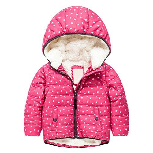Longra Kinderjacke Winterjacke Sportjacke Übergangsjacke Kinder Daunenmantel Daunenjacke Outdoor Steppjacken Mit Kapuze Down Jacket Warme Mäntel Winterjacke (130CM 7Jahre, Hot Pink) (Cashmere-flanell-hose)