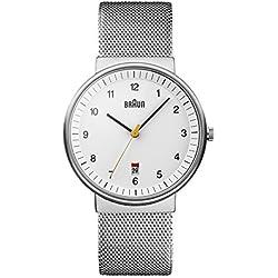 Braun BN0032WHSLMHG - Reloj analógico de caballero de cuarzo con correa de acero inoxidable plateada