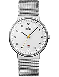 Braun Men's Quartz Watch with White Dial Analogue Display and Silver Mesh Bracelet BN0032BKBKMHG