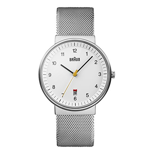 Braun BN0032WHSLMHG - Reloj análogico de cuarzo con correa de acero inoxidable para hombre, color plateado/blanco