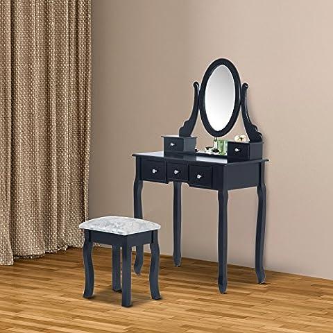 Tocador + Taburete y Espejo Mesa Maquillaje 5 Cajones Blanco Negro Mesa MDF NUE (Negro)