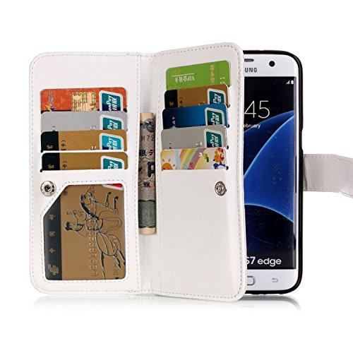 Hülle für Samsung Galaxy S7 Edge Schmetterling,TOCASO Glitter Strass Bling Ledertasche Muster Weich PU Schutzhülle für Samsung Galaxy S7 Edge Flip Cover Wallet Case Tasche Handyhülle mit Lanyard Strap #6#