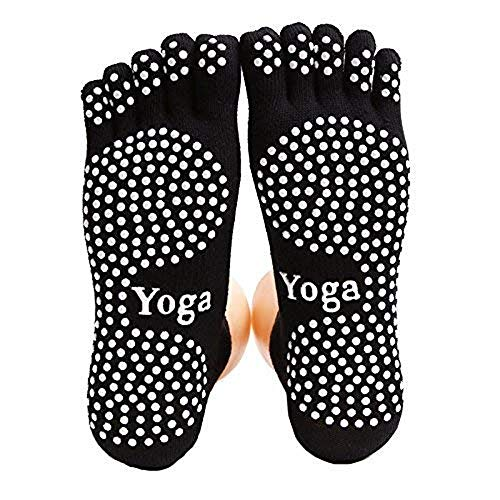 Jztrading yoga socks non slip balletto pilates socks con impugnatura per dance barre women girls toe socks