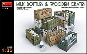Unbekannt Mini Tipo 35573-Accesorios de construcción Milk Bottles y Wooden Crates